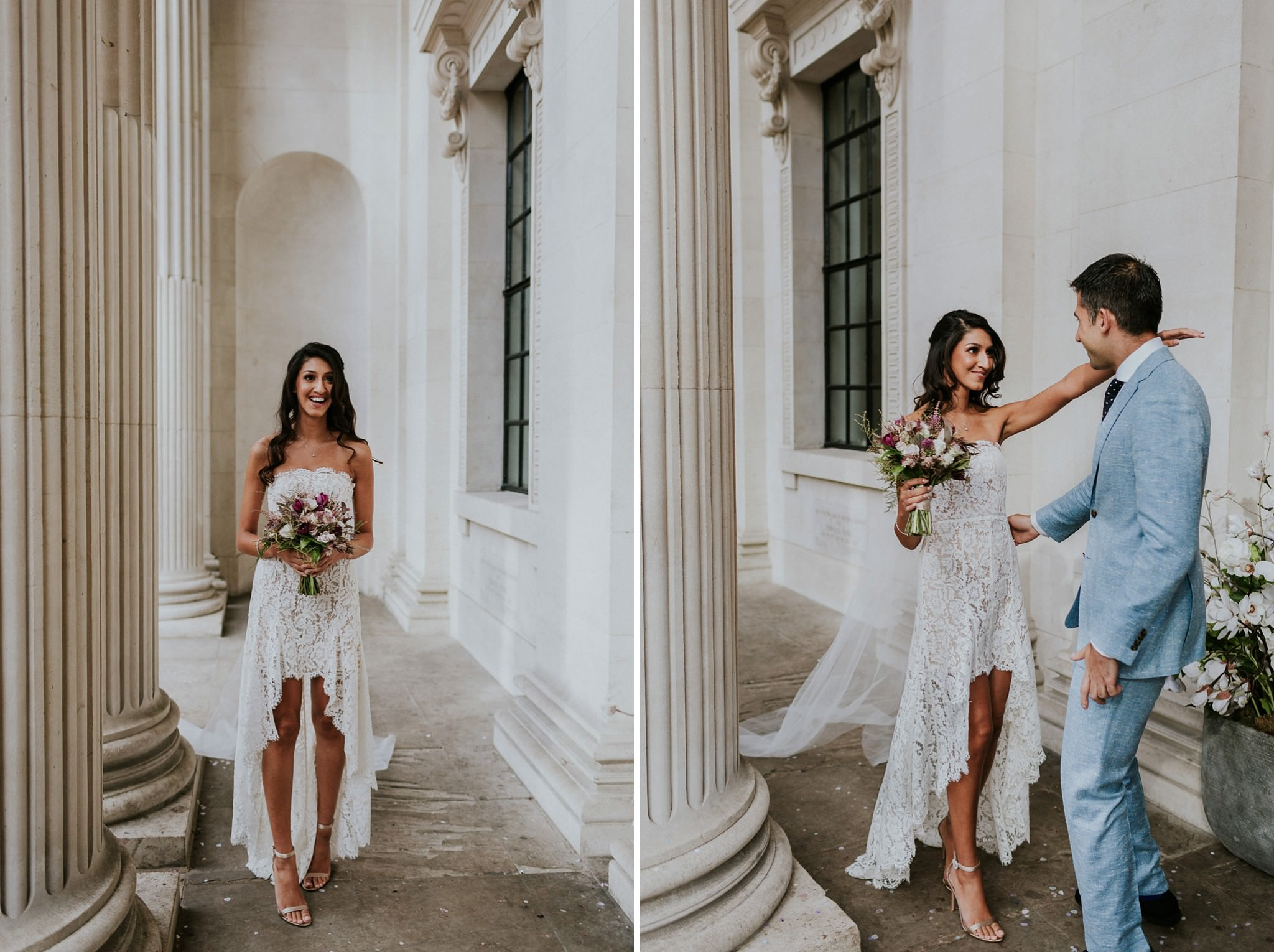 bride and groom meeting at Marylebone Town Hall