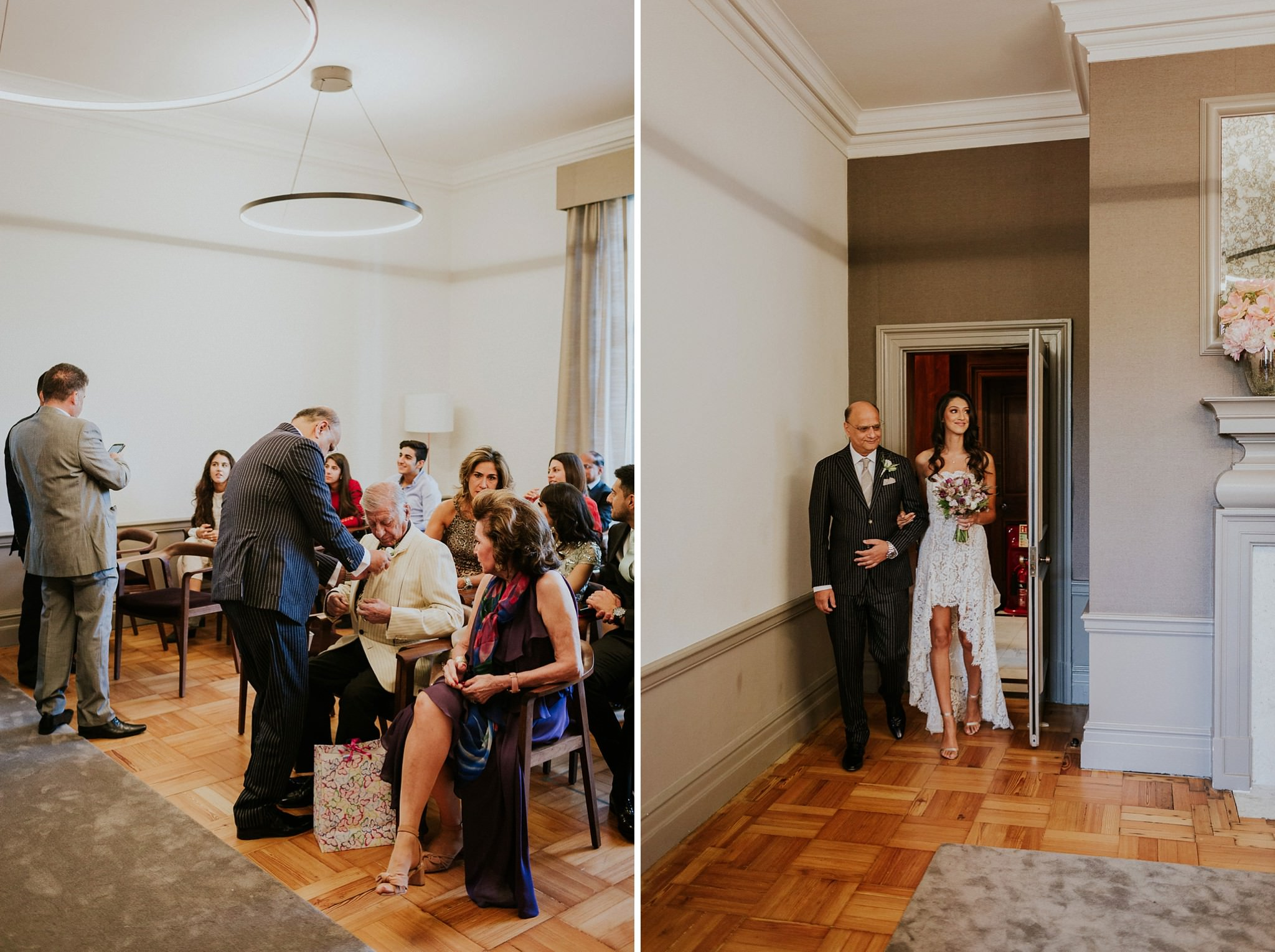 bride entering Mayfair room at Marylebone Town Hall