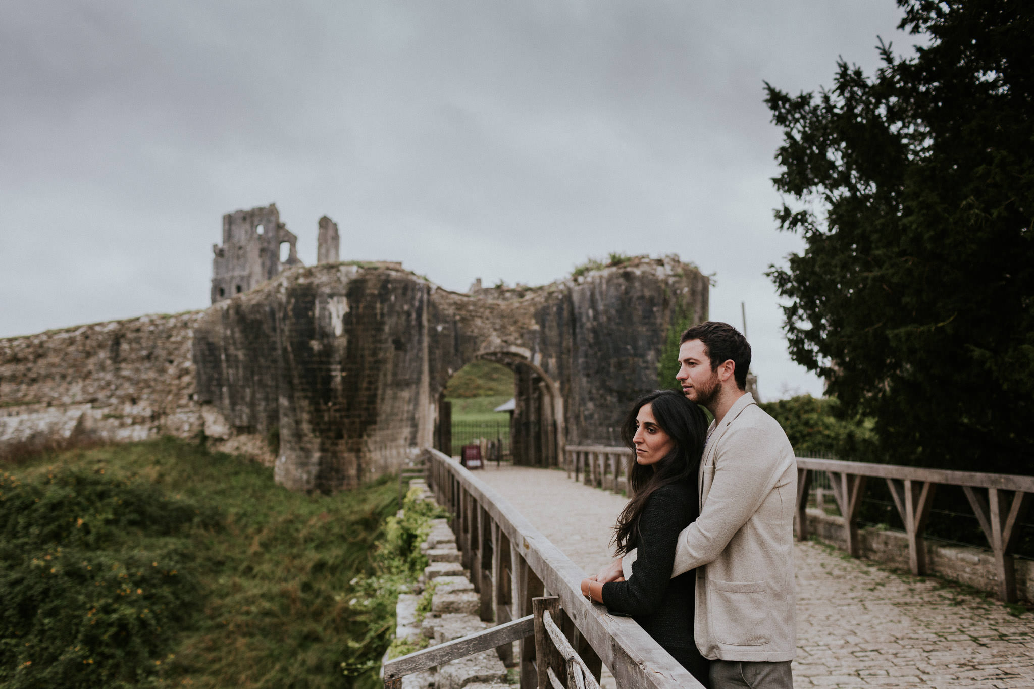Couple embracing in Corfe castle village