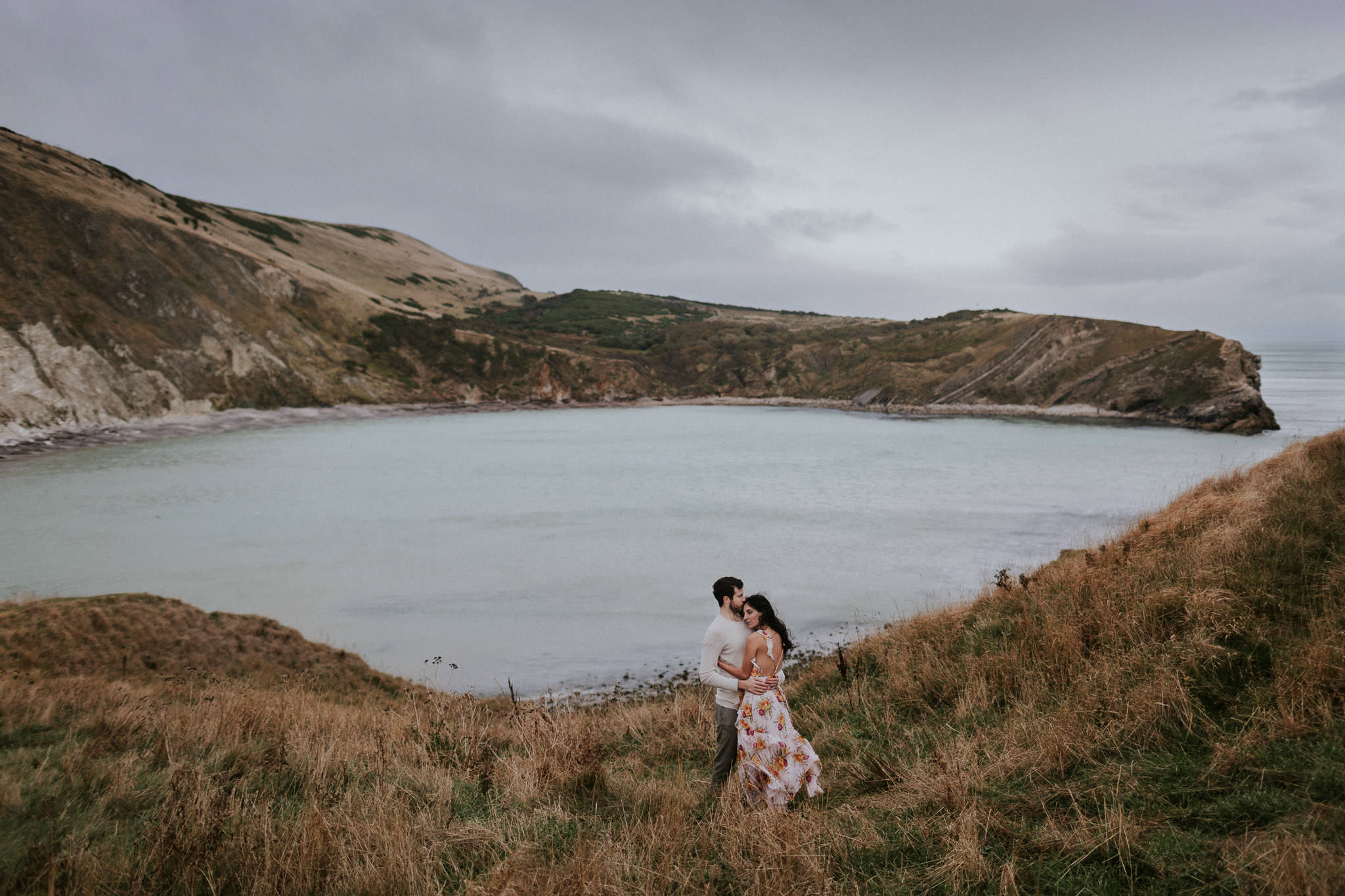 Seaside Engagement Photo Shoot on Jurassic Coast, Corfe Castle & Lulworth Cove