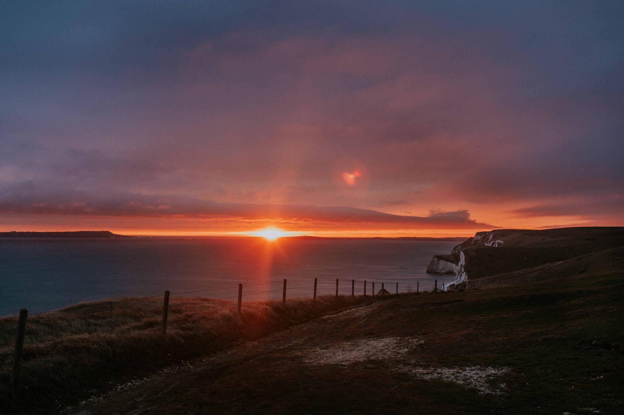 A beautiful sunset over the Dorset coast