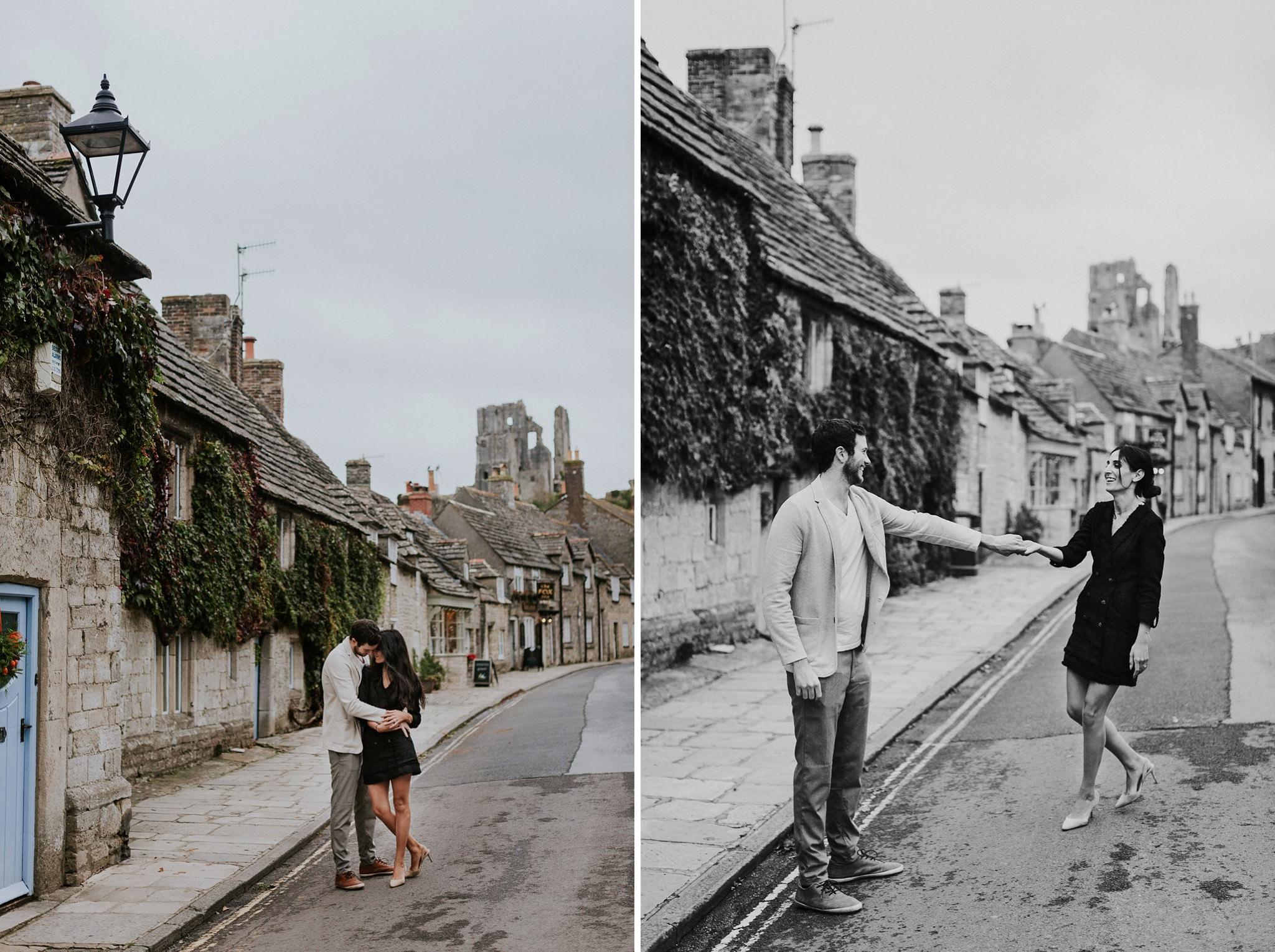 Couple embracing in Corfe castle village