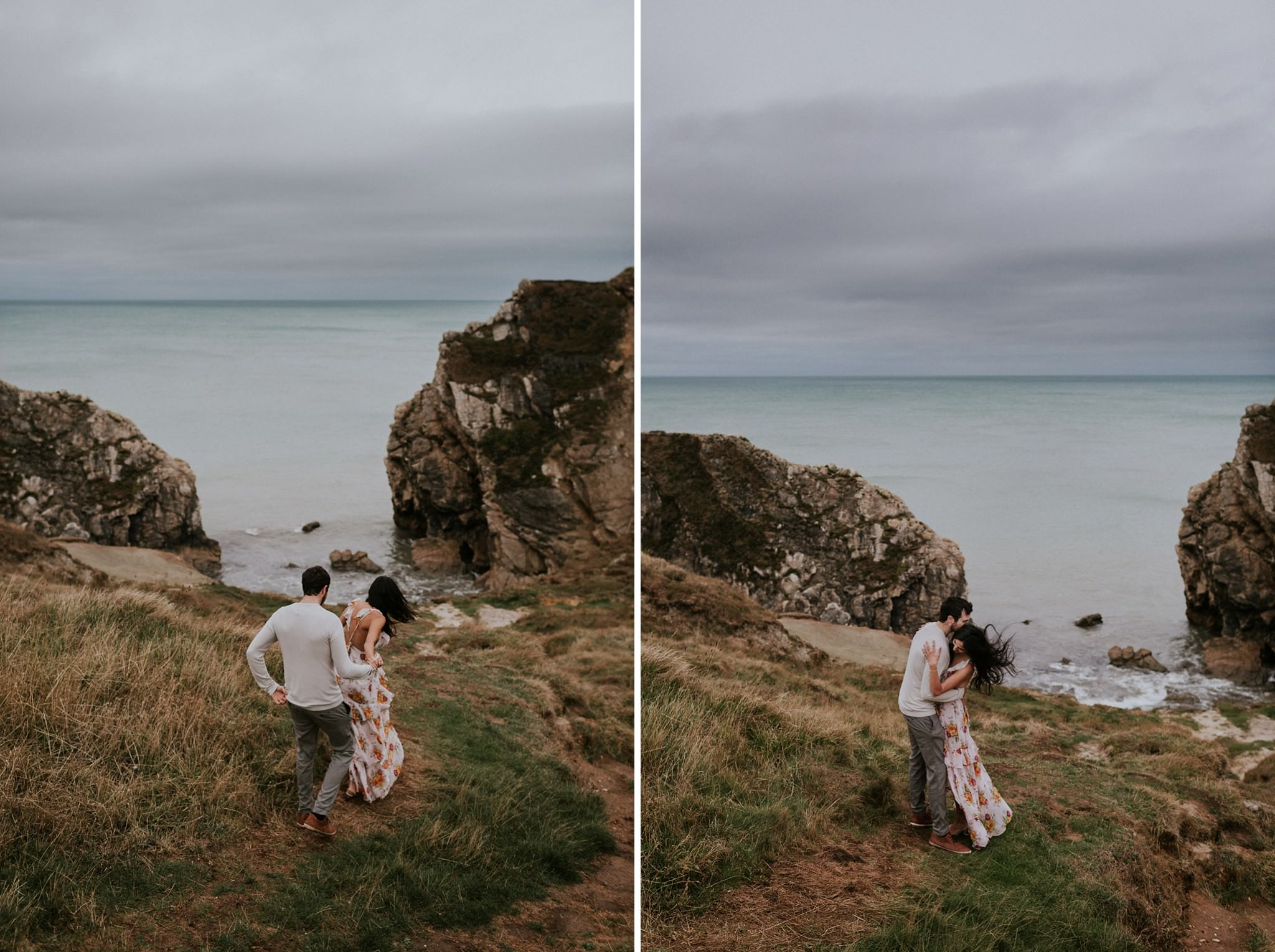 Couple engagement photos in Lulworth Cove