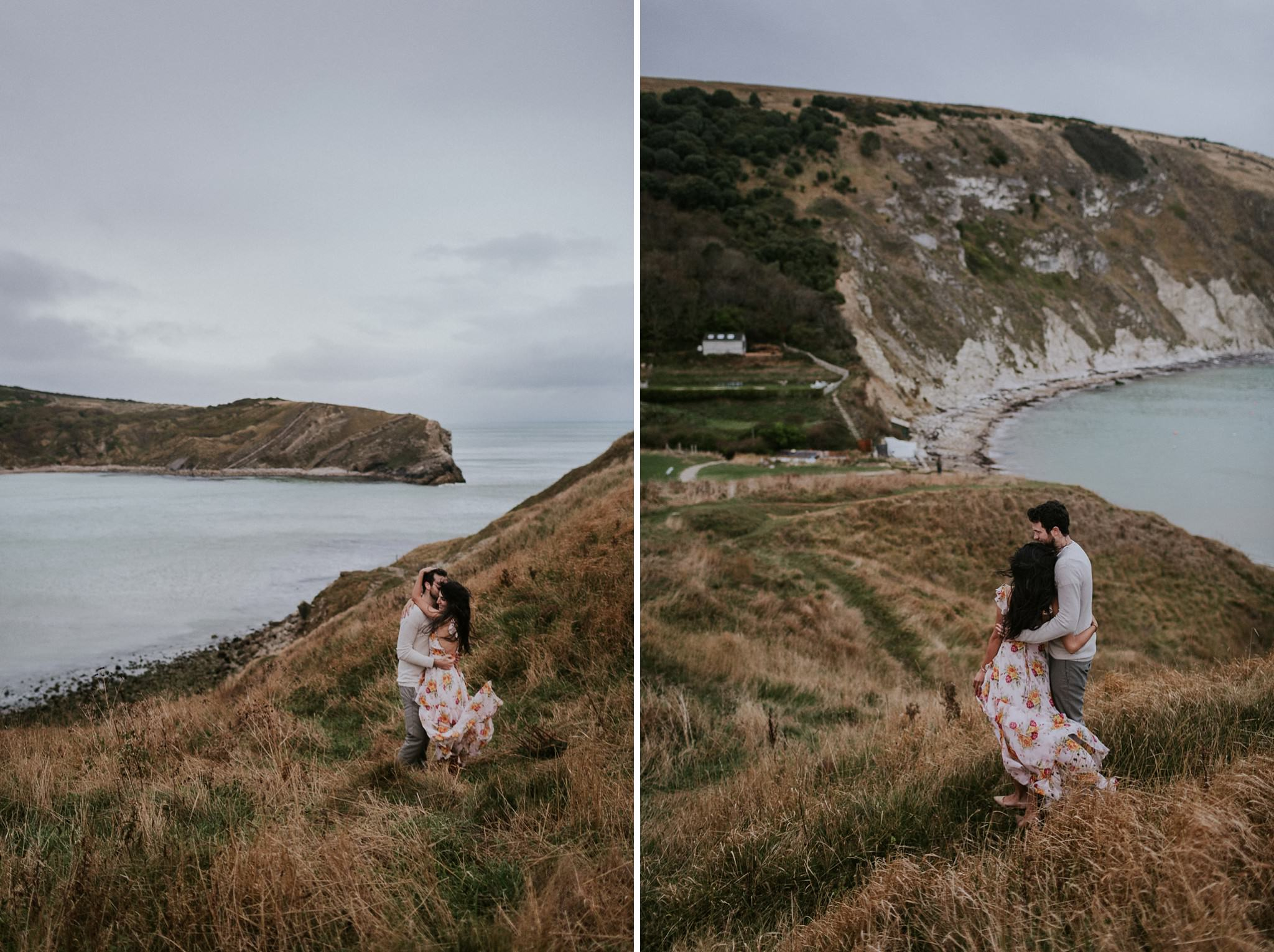 Couple embracing in Lulworth Cove