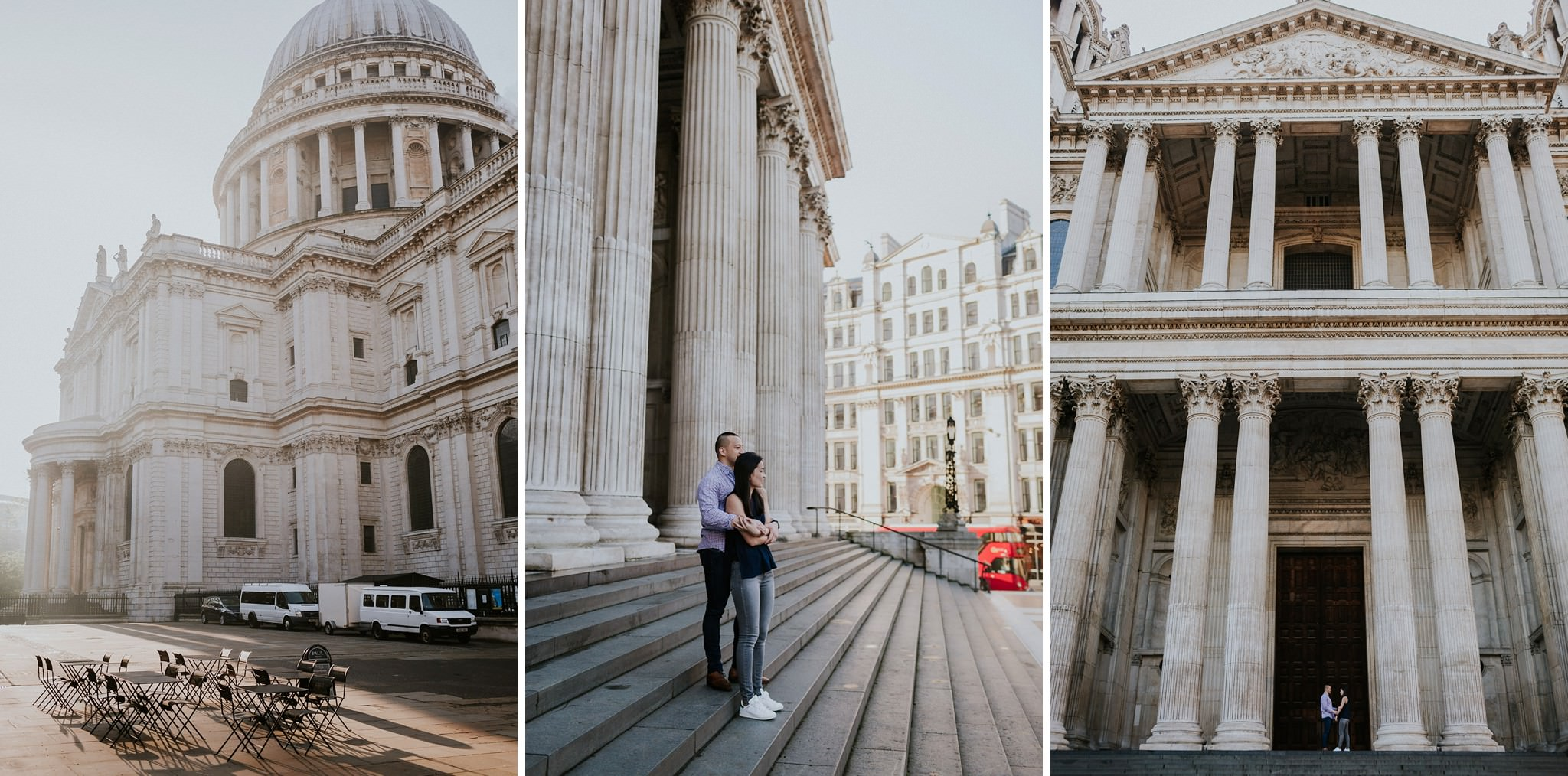 Couple embracing outside of St Paul's cathedral