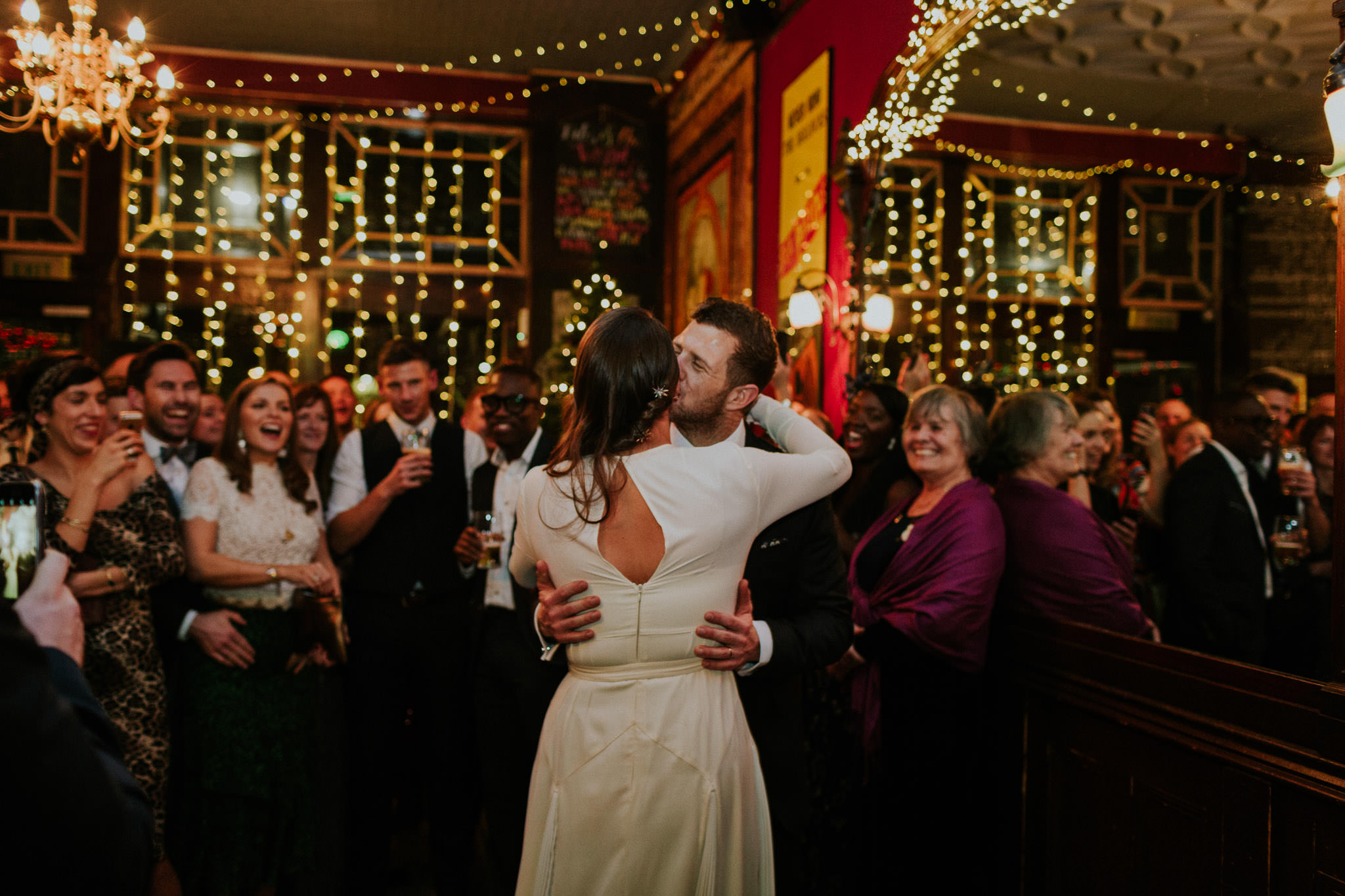 Bride and groom having a first dance at Peasant pub