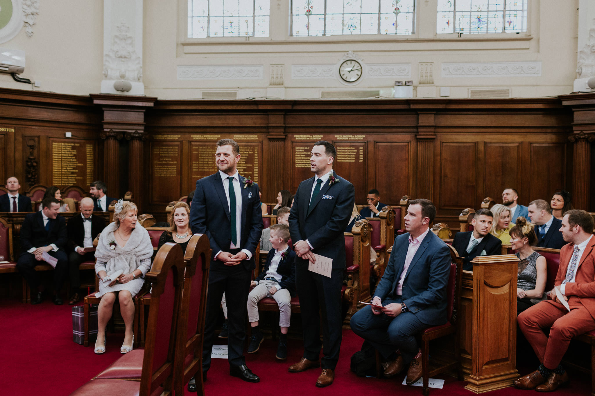 Groom waiting for bride at Islington Town Hall