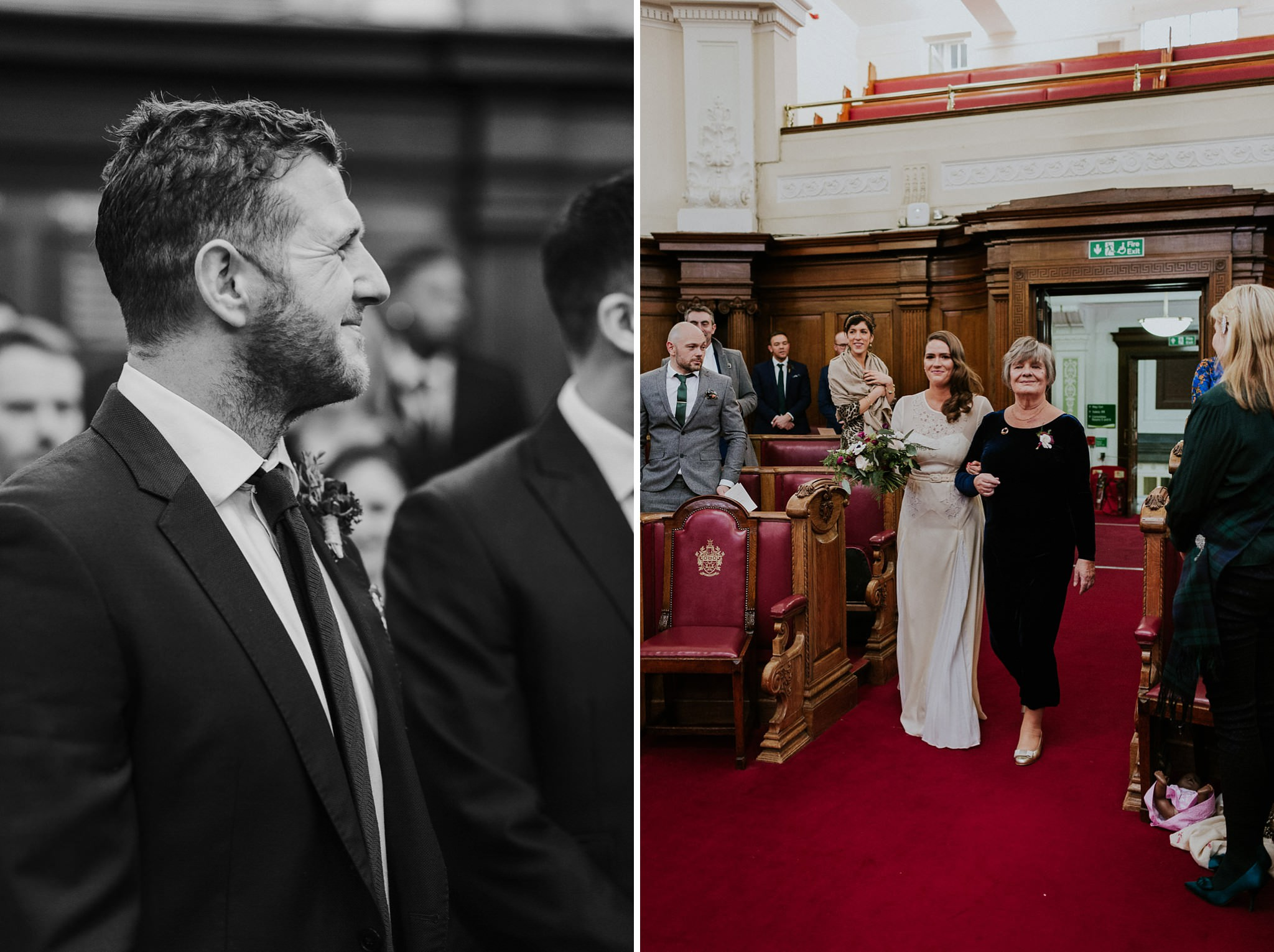 Bride arrives for the ceremony at Islington Town Hall