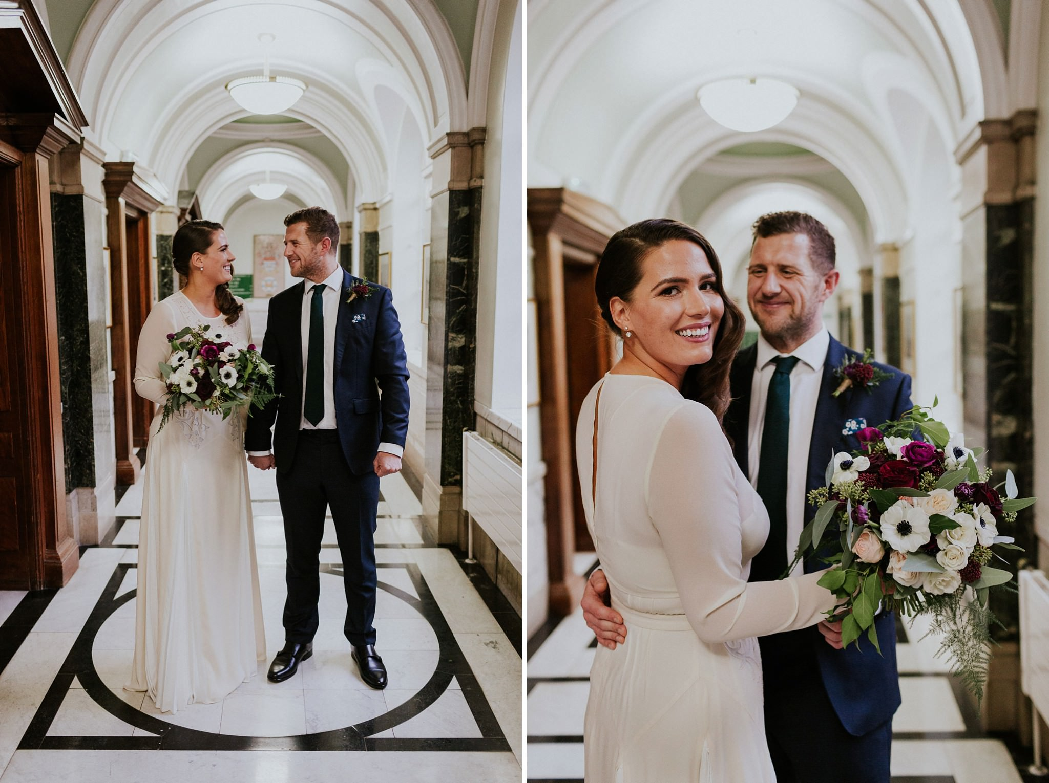 Bride and groom pose for portraits at Islington Town Hall