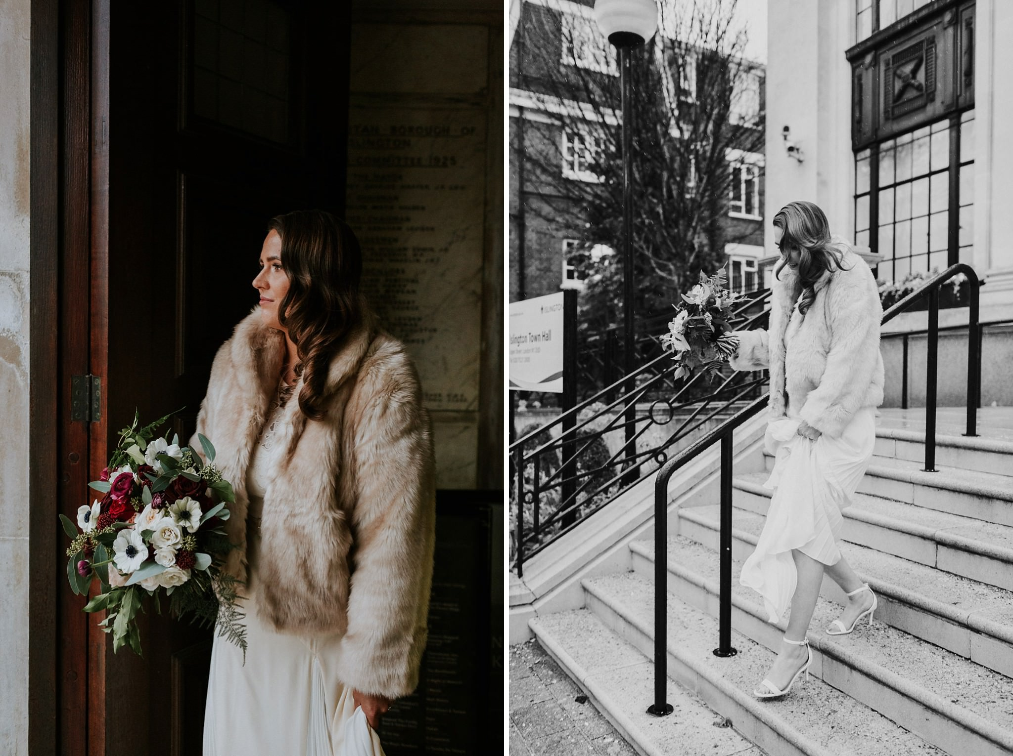 Bride waiting to exit Islington Town Hall