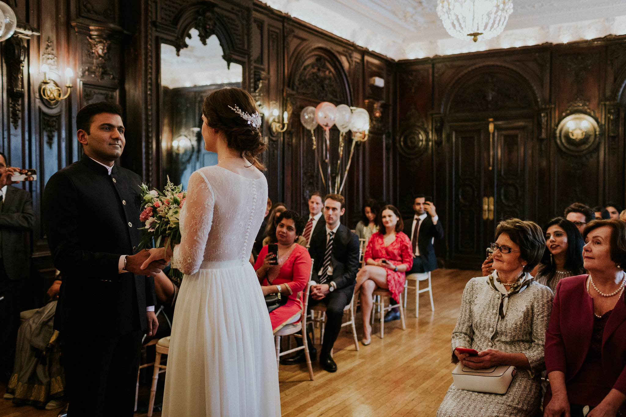 Bride and groom at Dartmouth House for their wedding ceremony