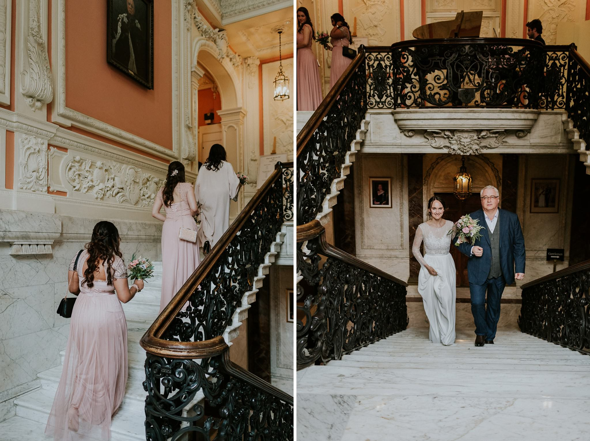 Bride walking up the stairs with her dad at Dartmouth House