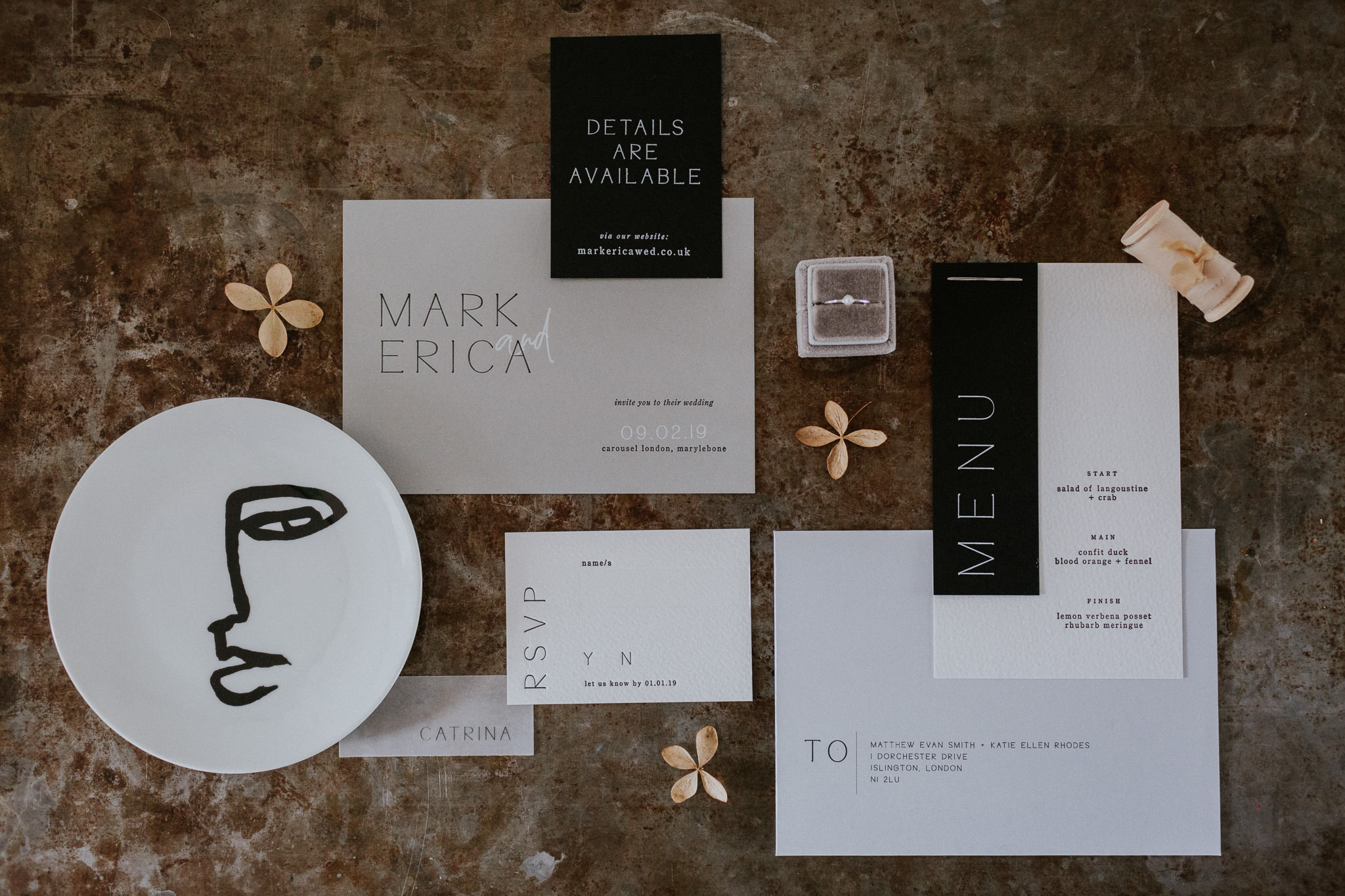 minimalist wedding stationary