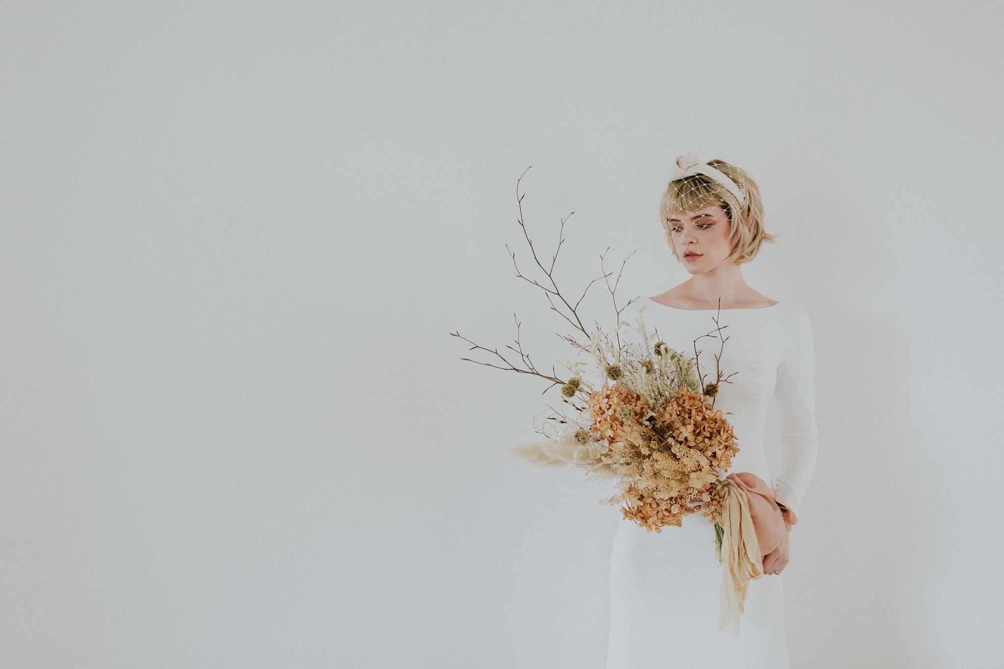 Bride with dried florals at Carousel London