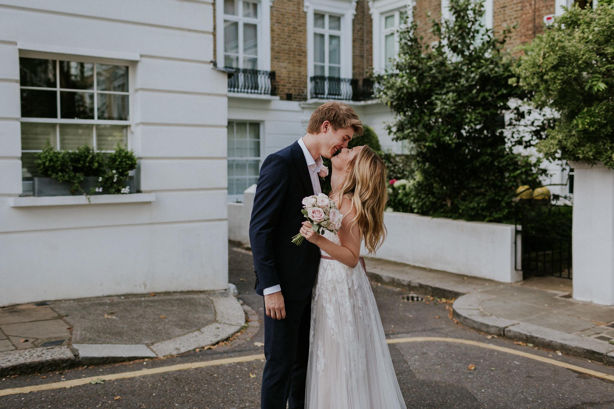 Bride and groom in Chelsea