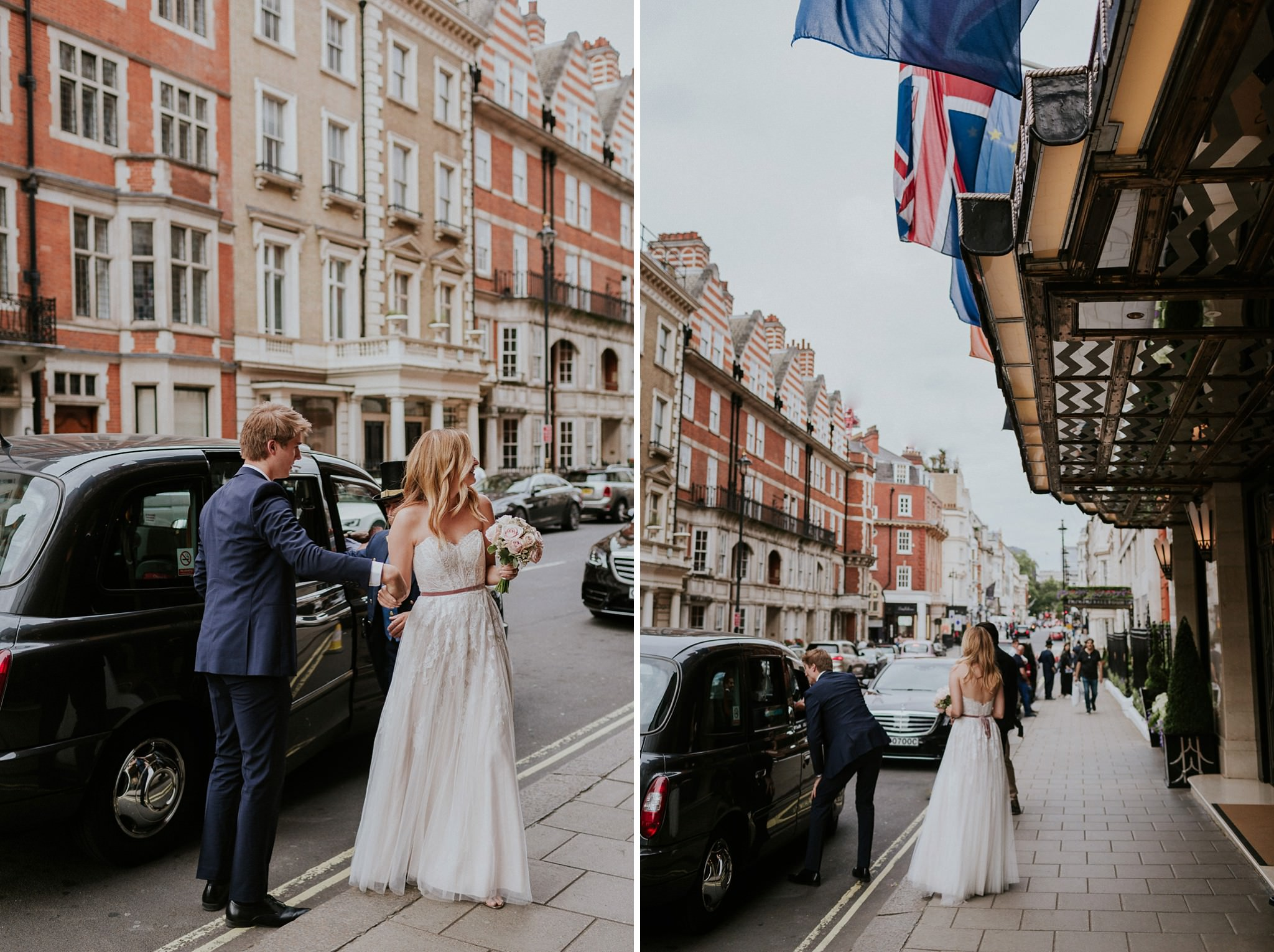 Bride and groom arriving to Claridges