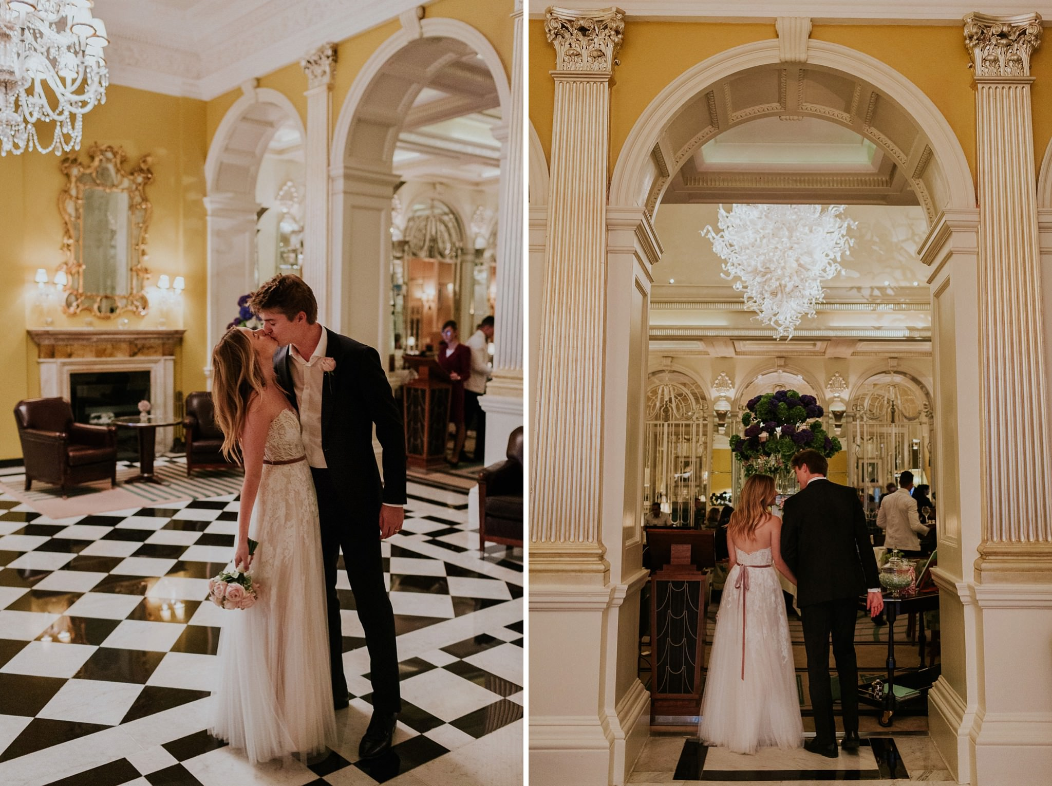 Bride and groom at the Claridge's