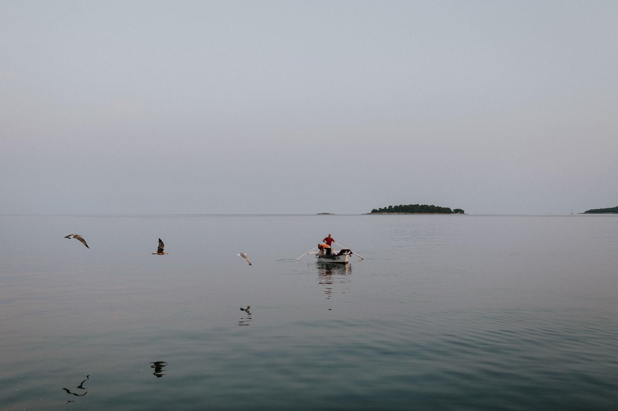 Fishermen at work in Rovinj, Croatia