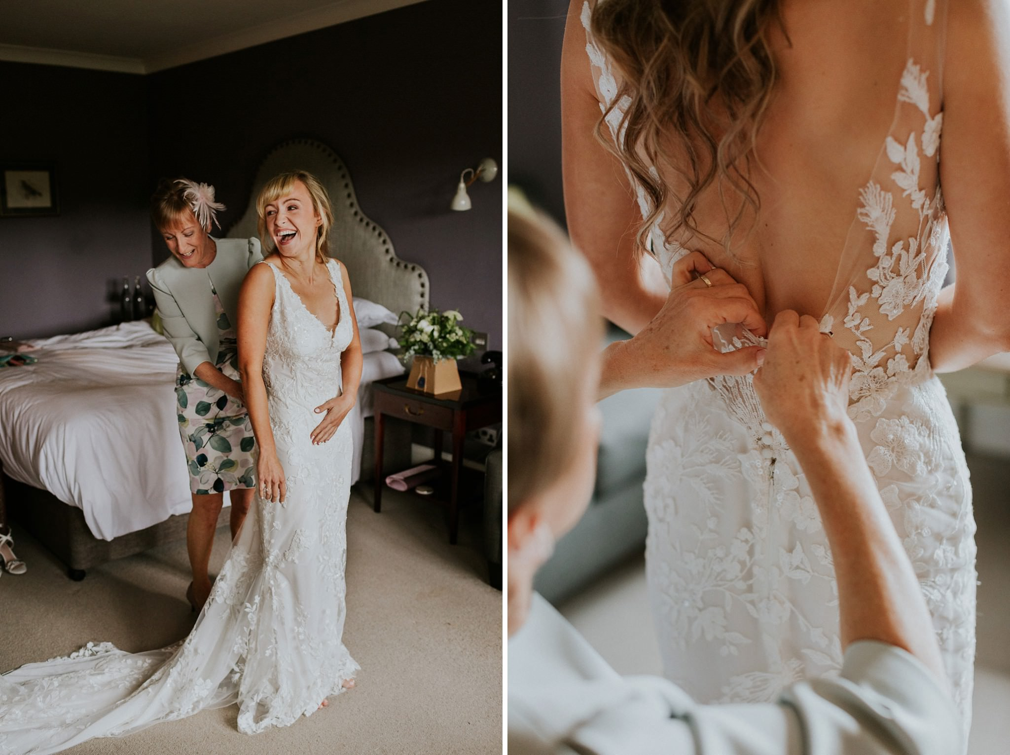 Bride putting her dress on for her wedding in Dorset