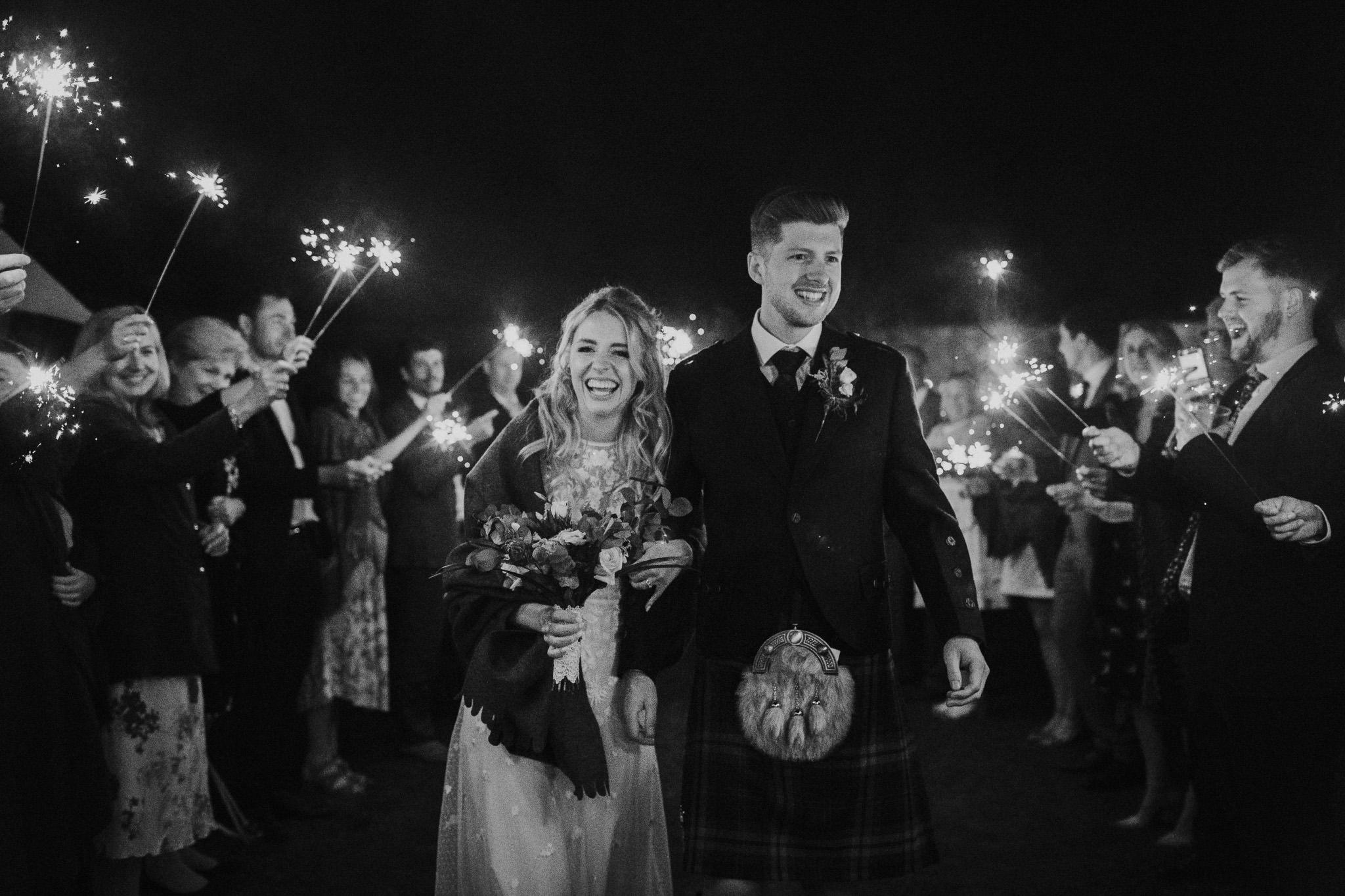 Sparkler exit at Highden Estate wedding
